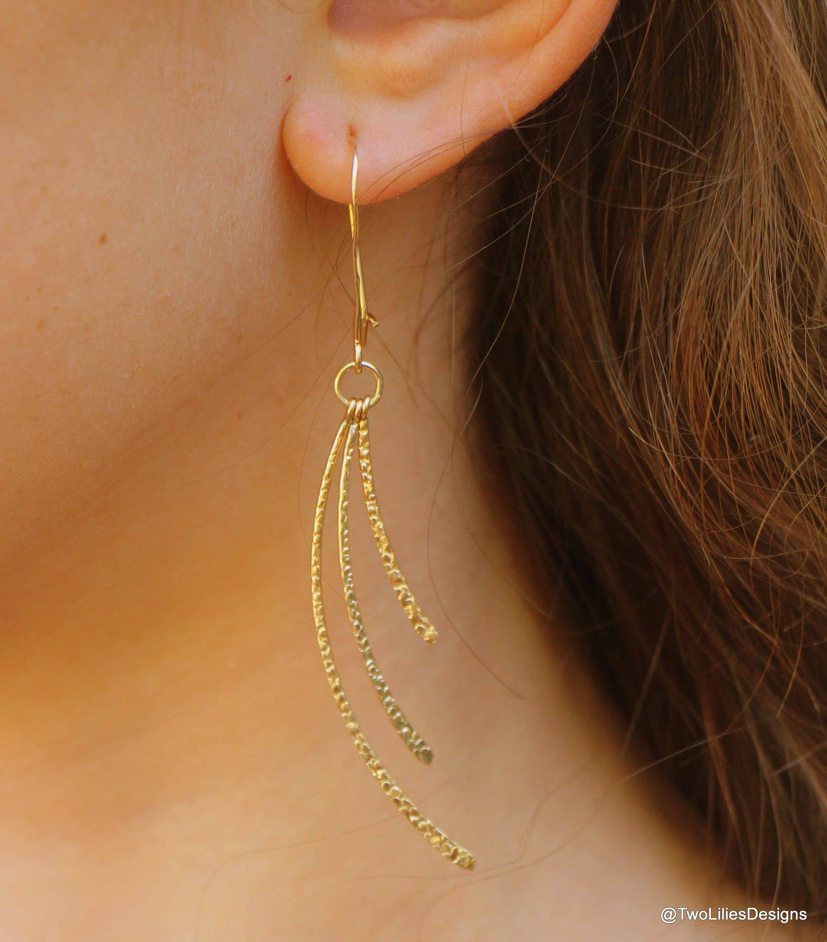 Wire wrapped 14k gold fill earrings Gift for her Gift for woman Special gift for girlfriend  Christmas gift  gold post chandelier earrings