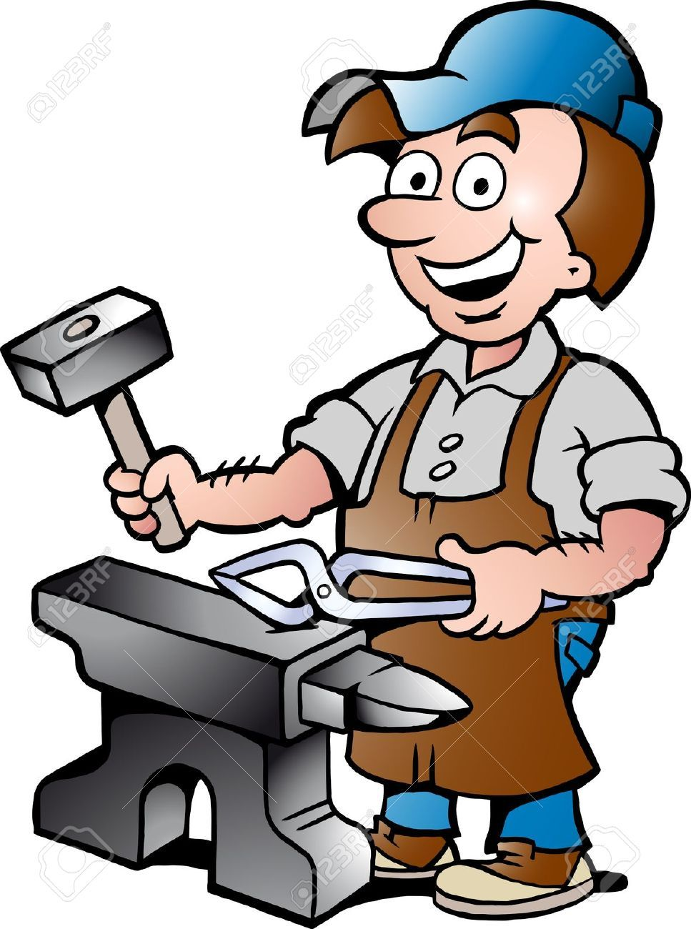 17901074-Hand-drawn-Vector-illustration-of-an-Happy-Blacksmith ...