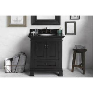 "Check out the RonBow 067330-B01 Venice 30"" Vanity Cabinet with Double Wood Doors and One Bottom Drawer in Antique Black priced at $1,297.50 at Homeclick.com."