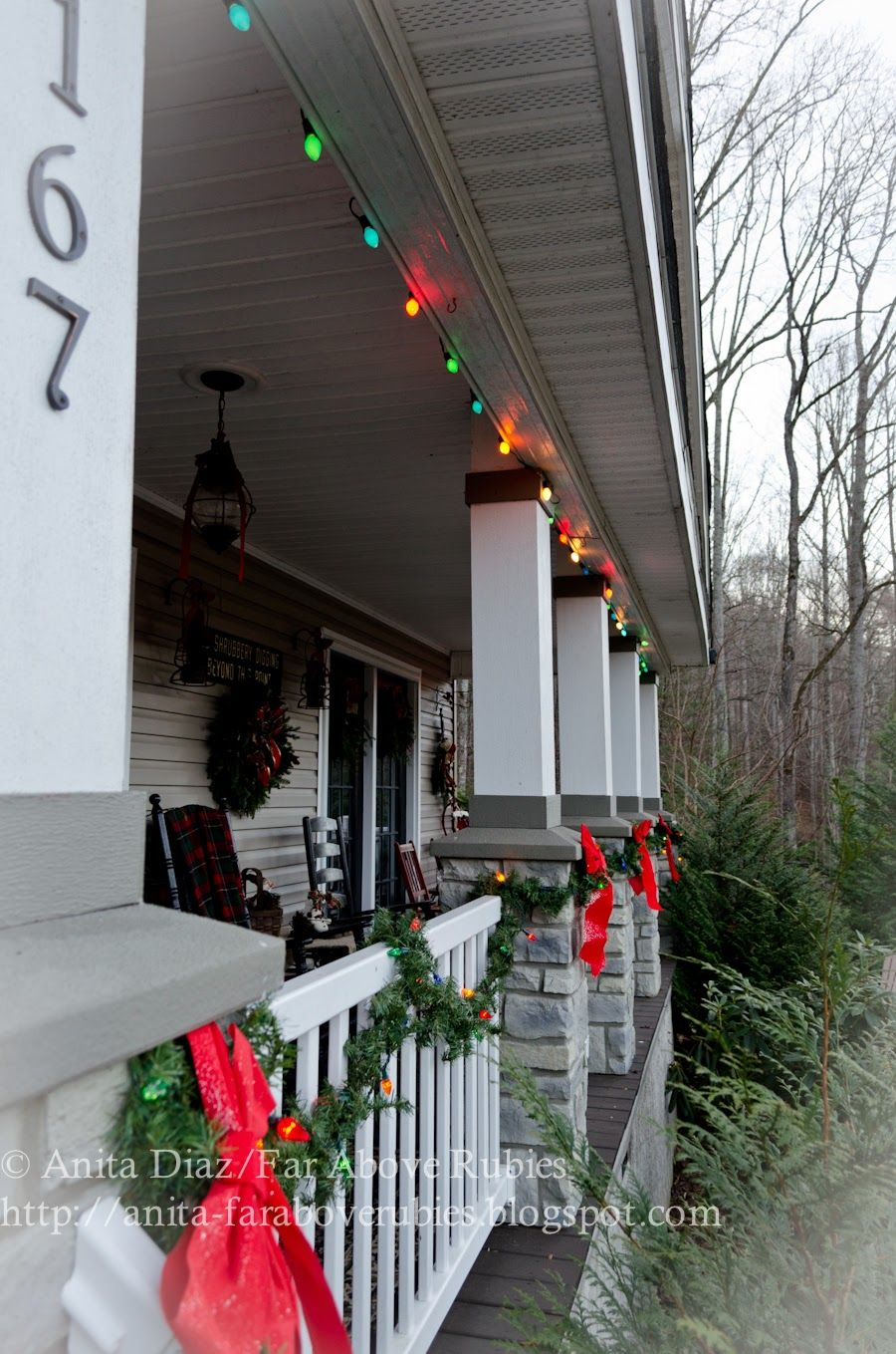 Country Christmas Home Tour~ | Icicle lights, Christmas porch and ...