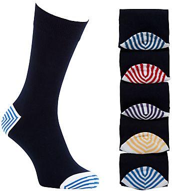John Lewis John Lewis Heel Toe Stripe Socks Pack Of 5 Multi Outfit Accessories Striped Socks Fashion Accessories