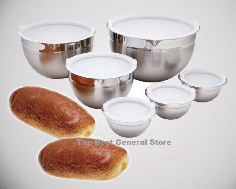 12pc T304 Surgical Stainless Steel Mixing Bowl Set