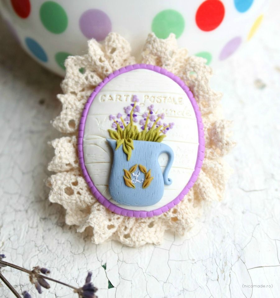 We all love lavender - Polymer clay brooch