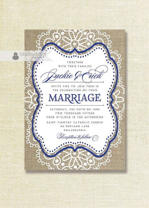 Lace Burlap Wedding Invitation Shabby Chic Royal Blue Navy Rustic