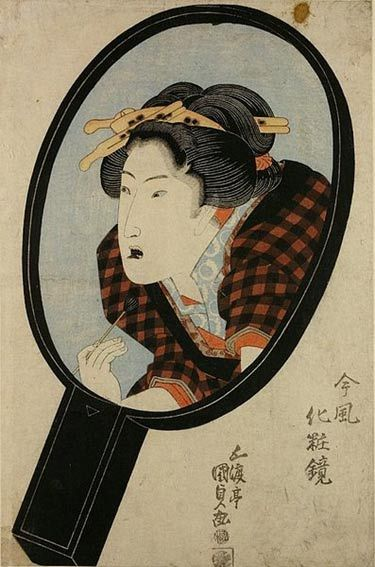 Blackened teeth, Nishiki-e of Utagawa Kunisad, from the series Mirrors of modern apartments, c. 1820.: