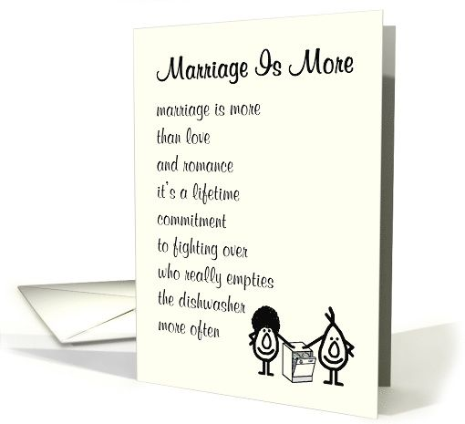 Marriage Is More A Funny Wedding Congratulations Poem Card