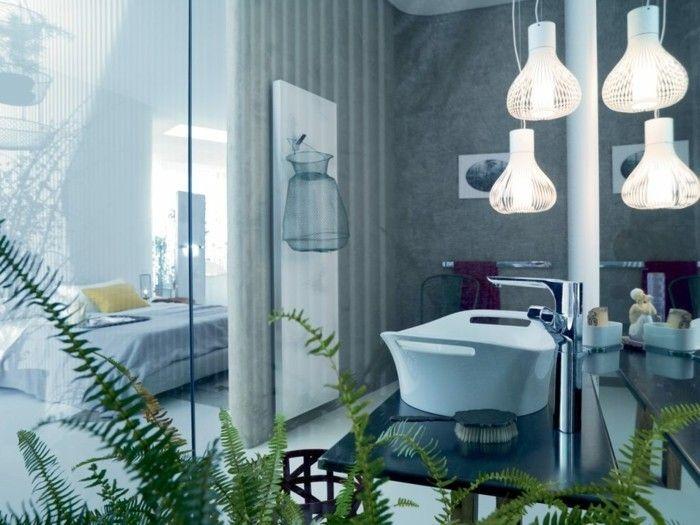 gruene pflanzen badezimmer gestalten glas Badezimmer Ideen