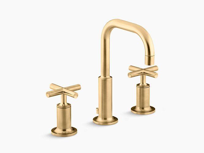 K 14406 3 Purist Widespread Sink Faucet With Low Cross Handles Kohler Sink Faucets Widespread Bathroom Faucet Bathroom Faucets