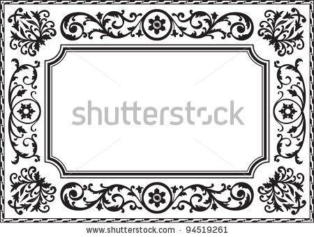 Baroque frame black and white - stock vector | Arabic | Pinterest ...