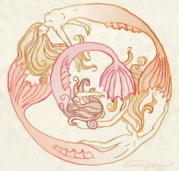 Mermaid Circle PDF Embroidery pattern by littledear on Etsy