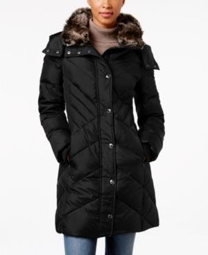 London Fog Faux-Fur-Trim Hooded Down Puffer Coat - Black M