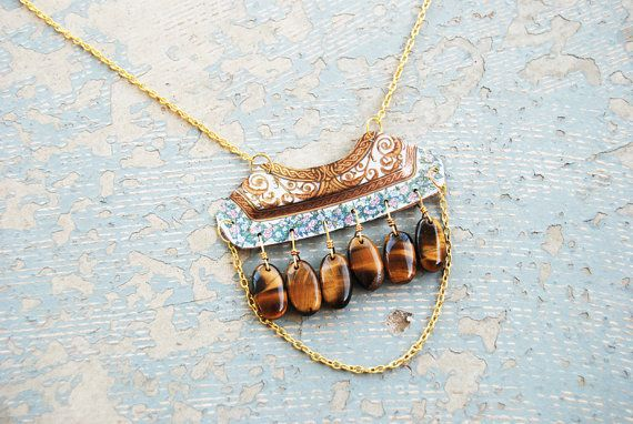 Tigers Eye Flower Necklace   http://www.etsy.com/listing/78785213/tigers-eye-flower-necklace-shabby-chic