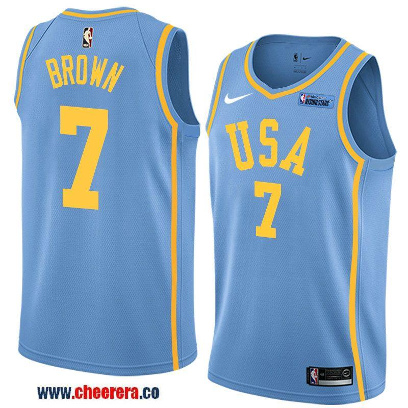 2018 nba all-star rising stars challenge men s light blue boston celtics  7  jaylen brown jersey- team usa 2378a26ee