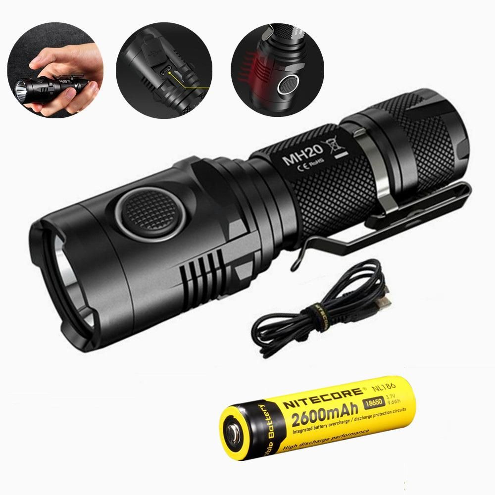Nitecore Mh20 Portable Flashlight With Nl186 18650 2600mah 1000lm Circuit Light Longrange Hiking Camping Led Torch Battery Xm L2 1000 Lumens Usb