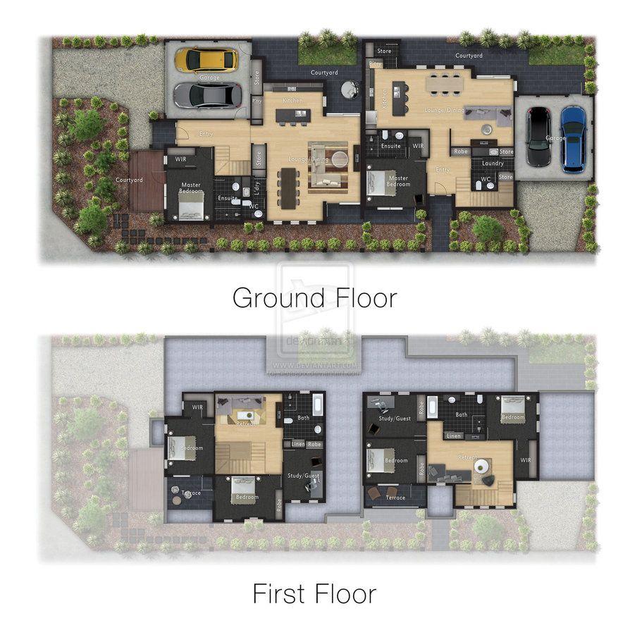 Architecture Colour Floor Plan Render By Cleanpix