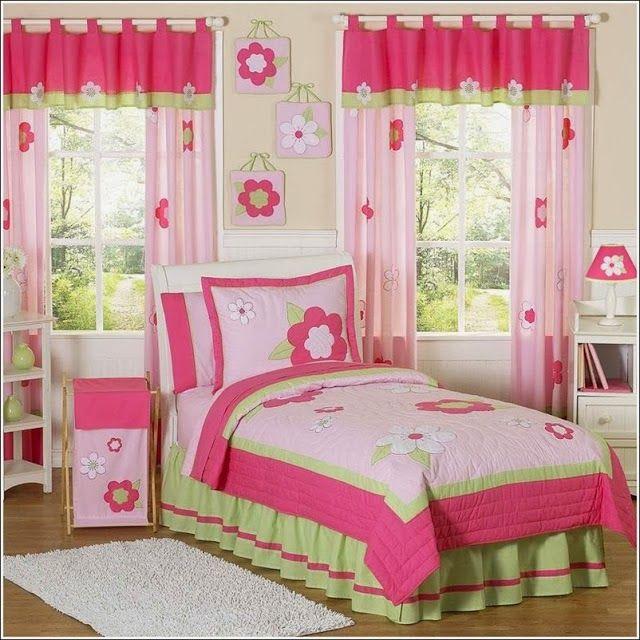Dormitorio para niña en rosa y verde limón | Organizador | Cortinas ...