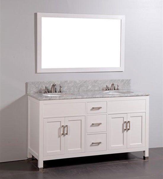 Taryn Double 60 Inch Contemporary Bathroom Vanity Set White Bathroom Vanity Contemporary Bathroom Vanity Vanity