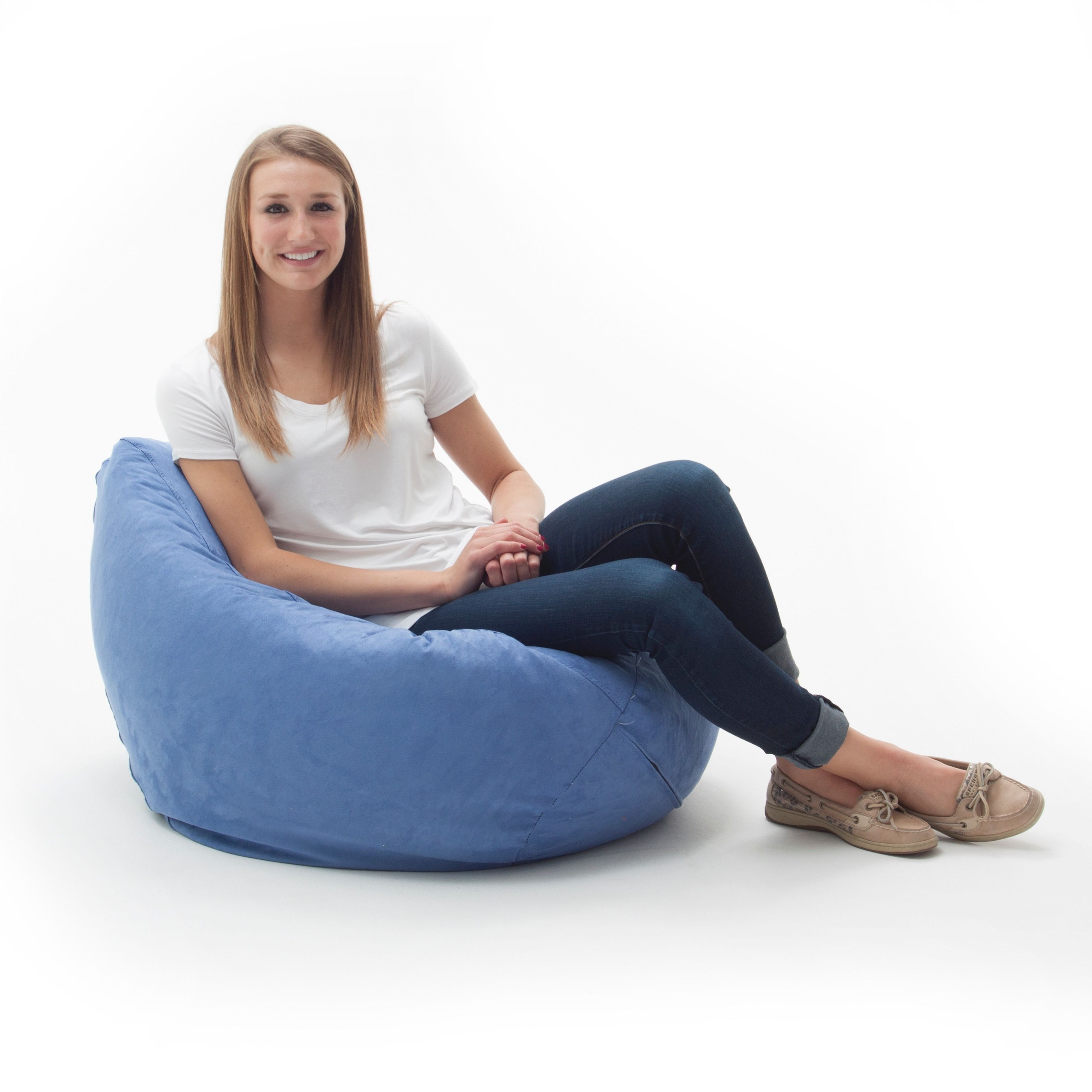 Big joe zip modular armless chair at brookstone buy now - Beansack Ultra Sky Blue Microfiber Suede Bean Bag Chair By Big Joe
