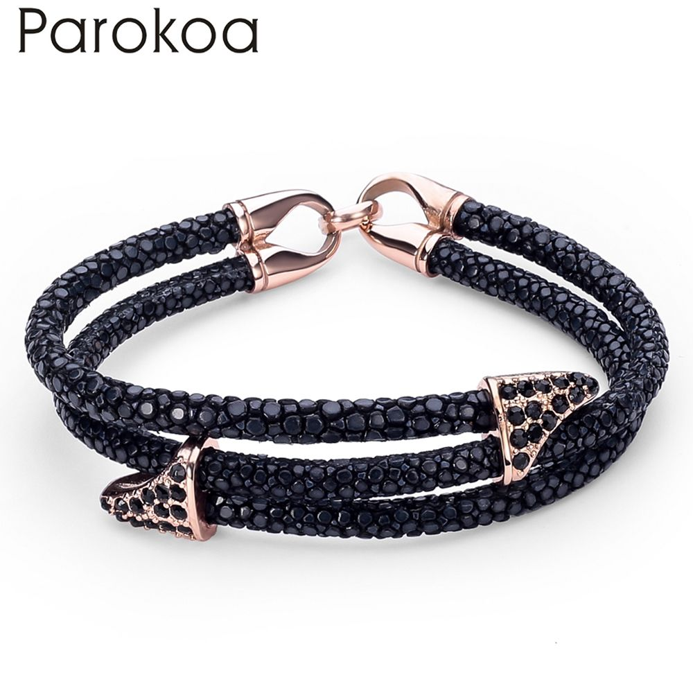 Special price hot sale genuine black stingray leather bracelet with