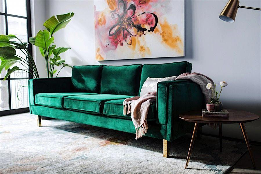 Bardot Velvet Sofa with Gold Legs Modern Digs. I love