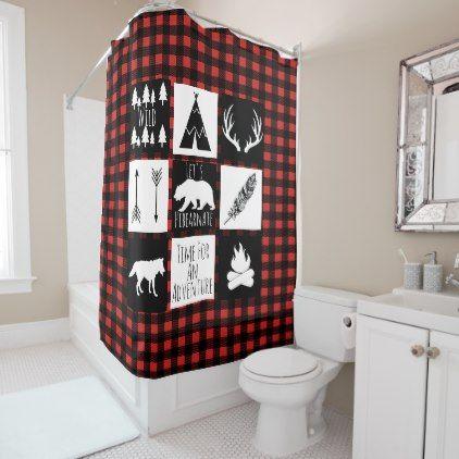 Rustic Wilderness Animals Buffalo Check Plaid Shower Curtain Zazzle Com Plaid Shower Curtain Custom Shower Curtains Bathroom Red