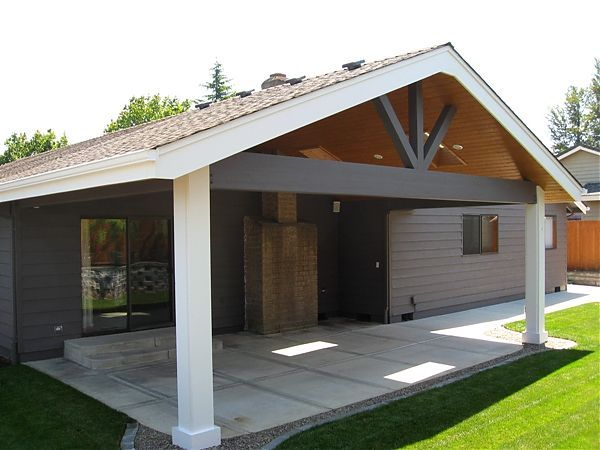 Gable end patio cover with skylight salem tnt builders for Open porch roof designs