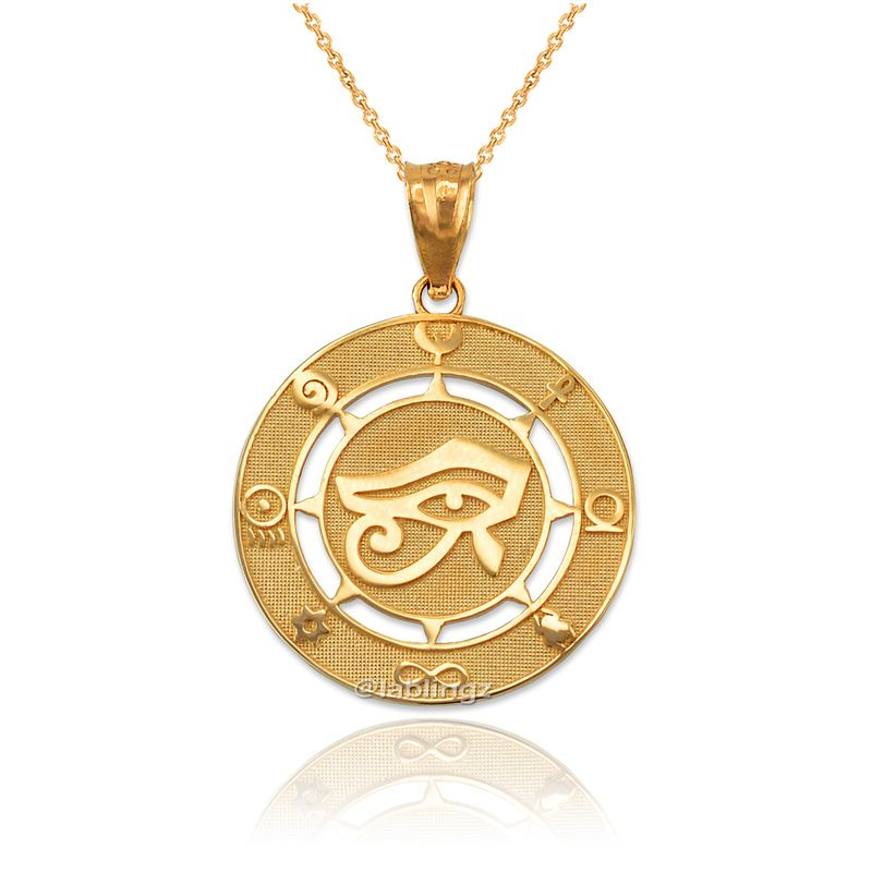 Yellow Gold Eye Of Horus Good Luck Amulet Pendant Necklace Beaded Ankle Bracelets Metal Stamped Jewelry Pendant Necklace