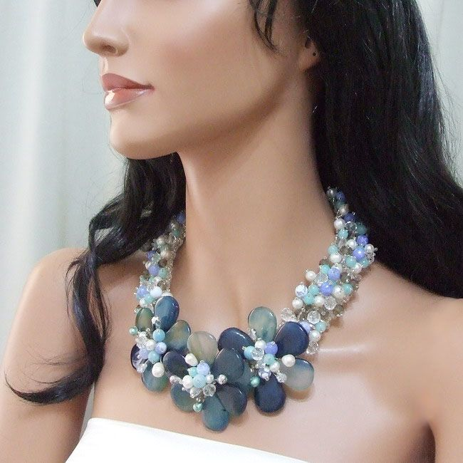 Triple Floral Grace Blue Agate-Pearl Silver Necklace
