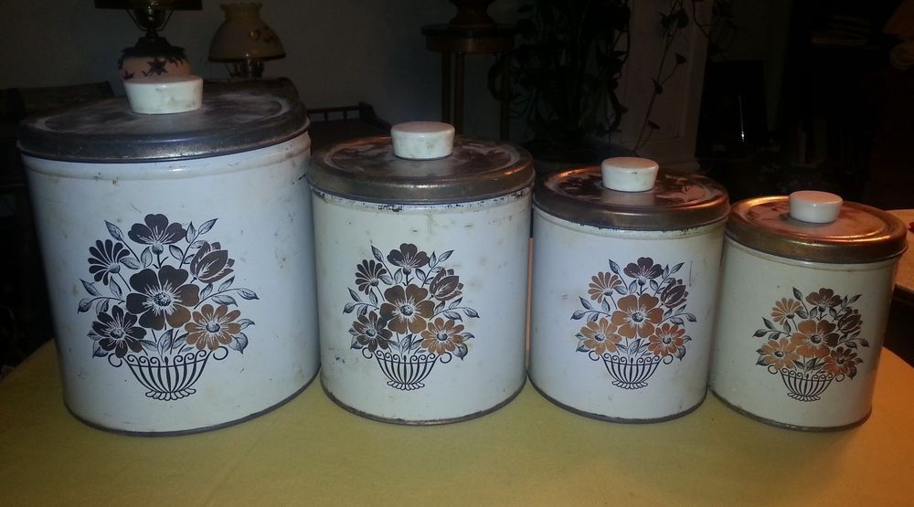 Vintage 1950's DECOWARE Tin Canister 4 Piece Set Brown Bouquet Design  $22.46