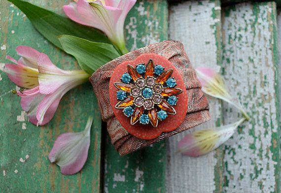 CUFF BRACELET vintage tie and repurposed jewelry by crazyfoxstudio