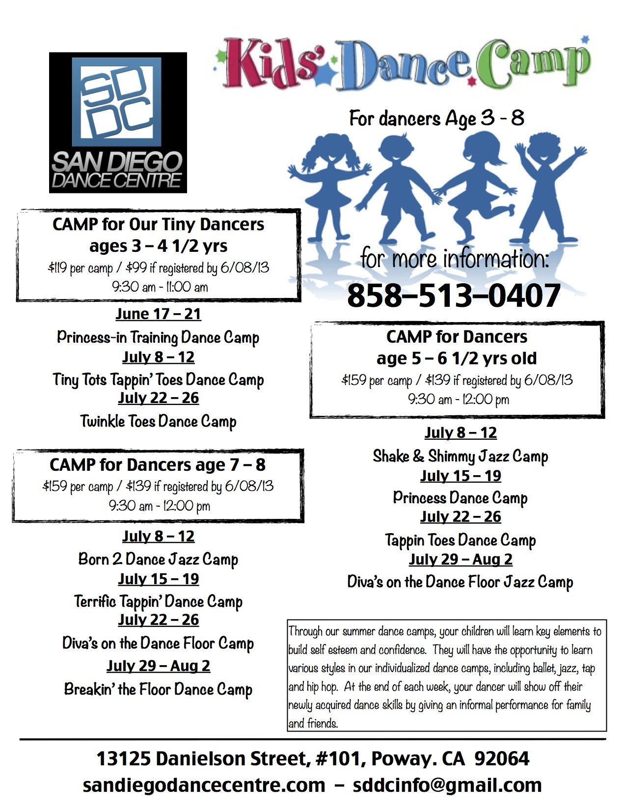 Summer Dance Camp Flyer 2013 San Diego Dance Centre #summer