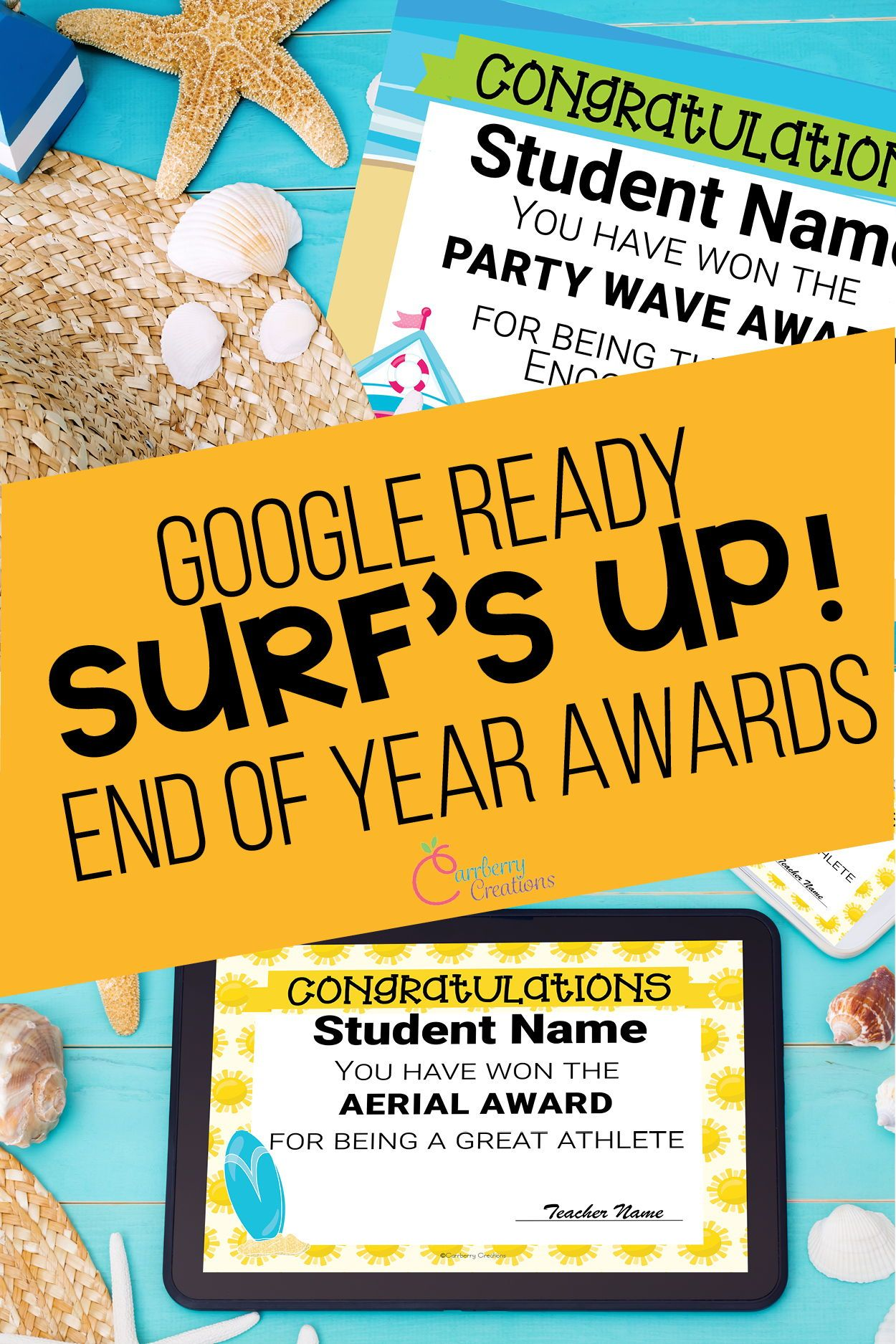 End of year awards surf theme great for distance learning
