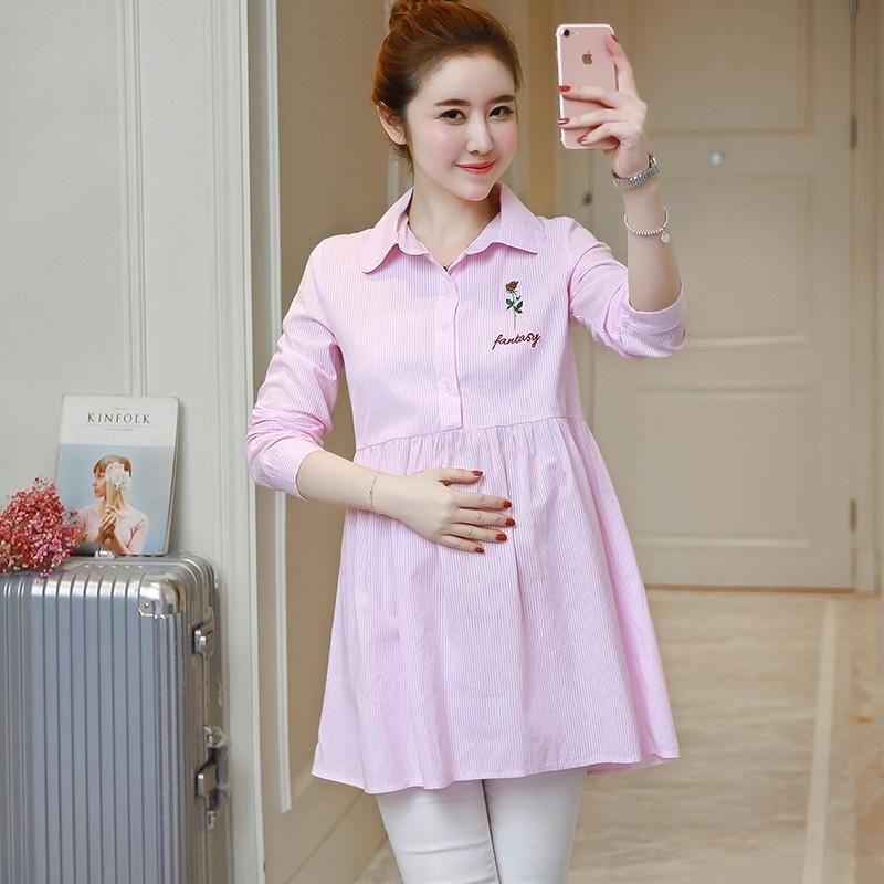 Summer Women Cotton Shirt Drawstring Pregnant Maternity Loose Casual Short Dress
