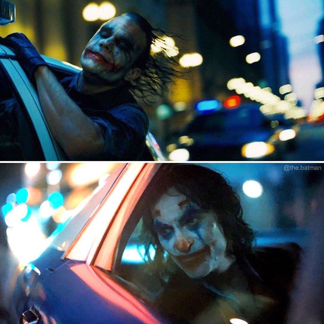 """THE BATMAN on Instagram: """"Above - The Dark Knight (2008) Below - Joker (2019)  #jokermovie #joaquinphoenix #joker #toddphillips #dccomics #heathledger #thedarkknight"""""""