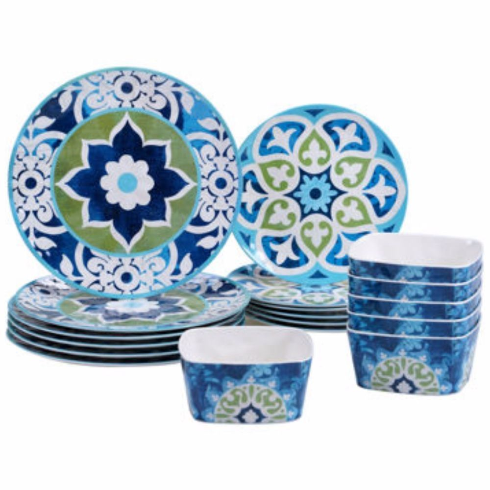 dinnerware set 18 piece melamine plates bowls floral outdoor dining patio new - Melamine Dishes