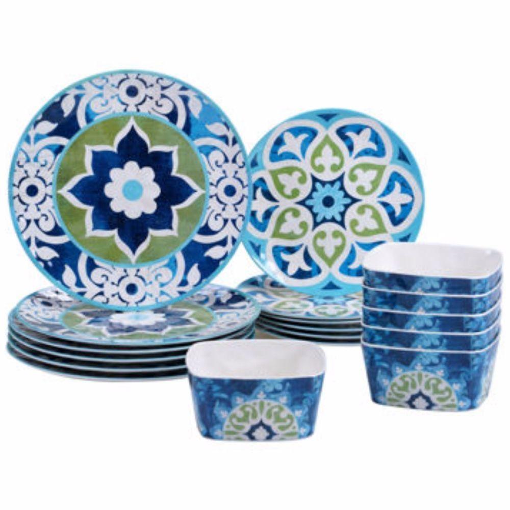Dinnerware Set 18 Piece Melamine Plates Bowls Floral Outdoor Dining Patio New #CertifiedInternational  sc 1 st  Pinterest & Dinnerware Set 18 Piece Melamine Plates Bowls Floral Outdoor Dining ...