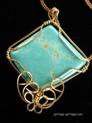Cripple Creek Turquoise 14K Gold Wire Wrapped Necklace Italy Chain