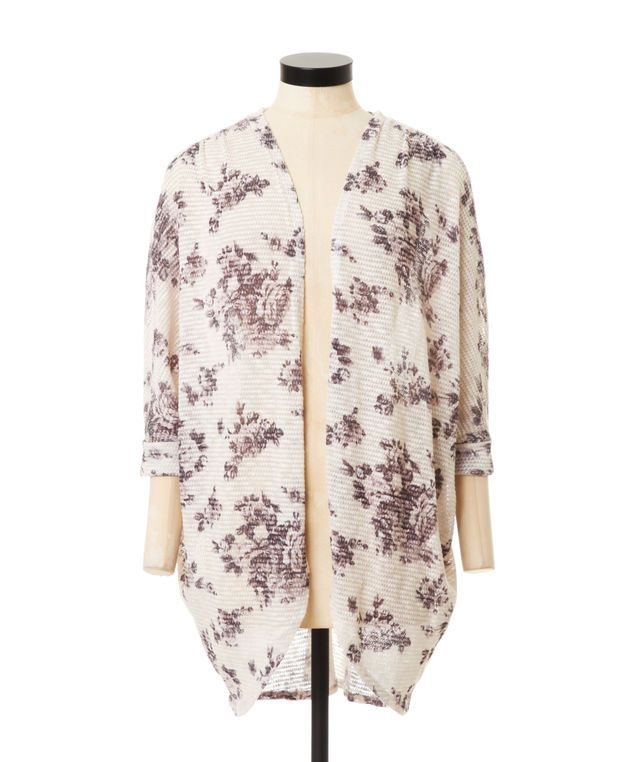 printed hacci cardigan, CREAM/BLACK