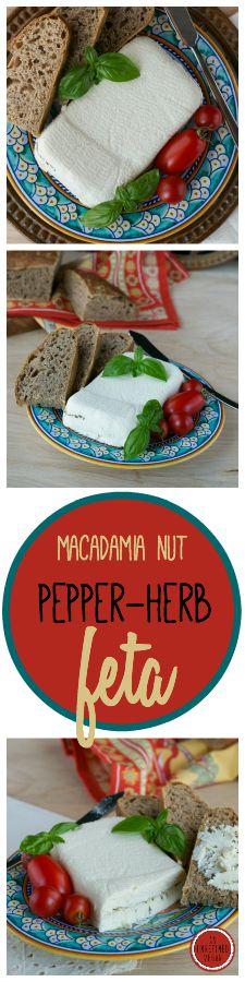 "Vegan Macadamia Nut Pepper-Herb ""Feta"" by An Unrefined Vegan. Gluten-free. No added oil."