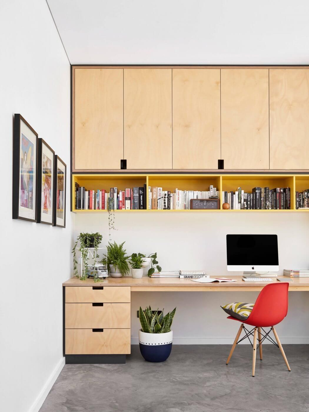Open Study Room: Open Book Shelves With Pop Of Color In Home Office