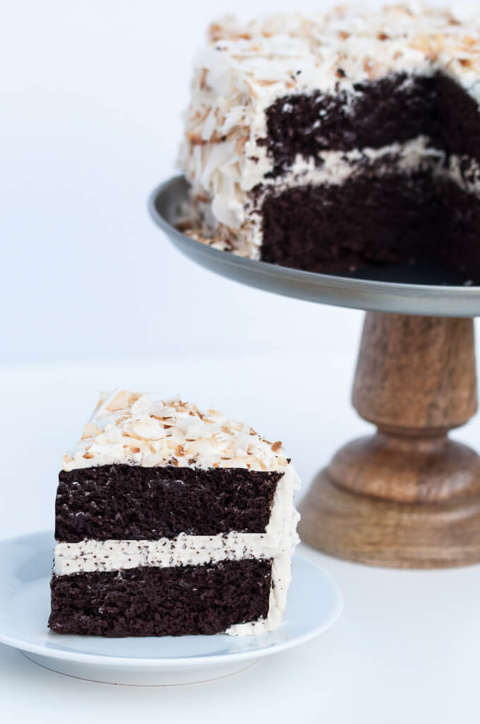 A Moist Fluffy Vegan Coconut Chocolate Cake Topped With A Vanilla Coconut Oil Frosting No In 2020 Vegan Chocolate Cake Coconut Chocolate Cake Chocolate Cake Recipe