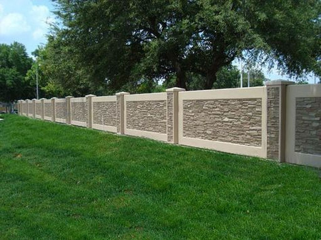 20 Fabulous Stone Fence Design Ideas For Front Yard Concrete Fence Wall Fence Design Modern Fence