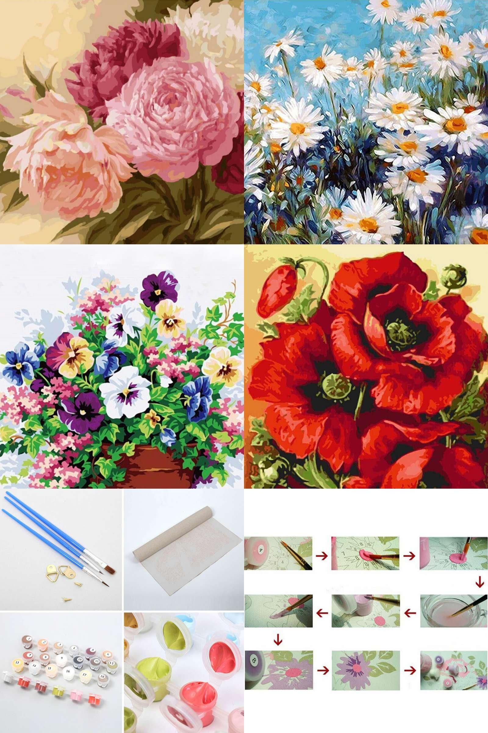Visit to buy cm flowers oil painting by numbers wall pictures