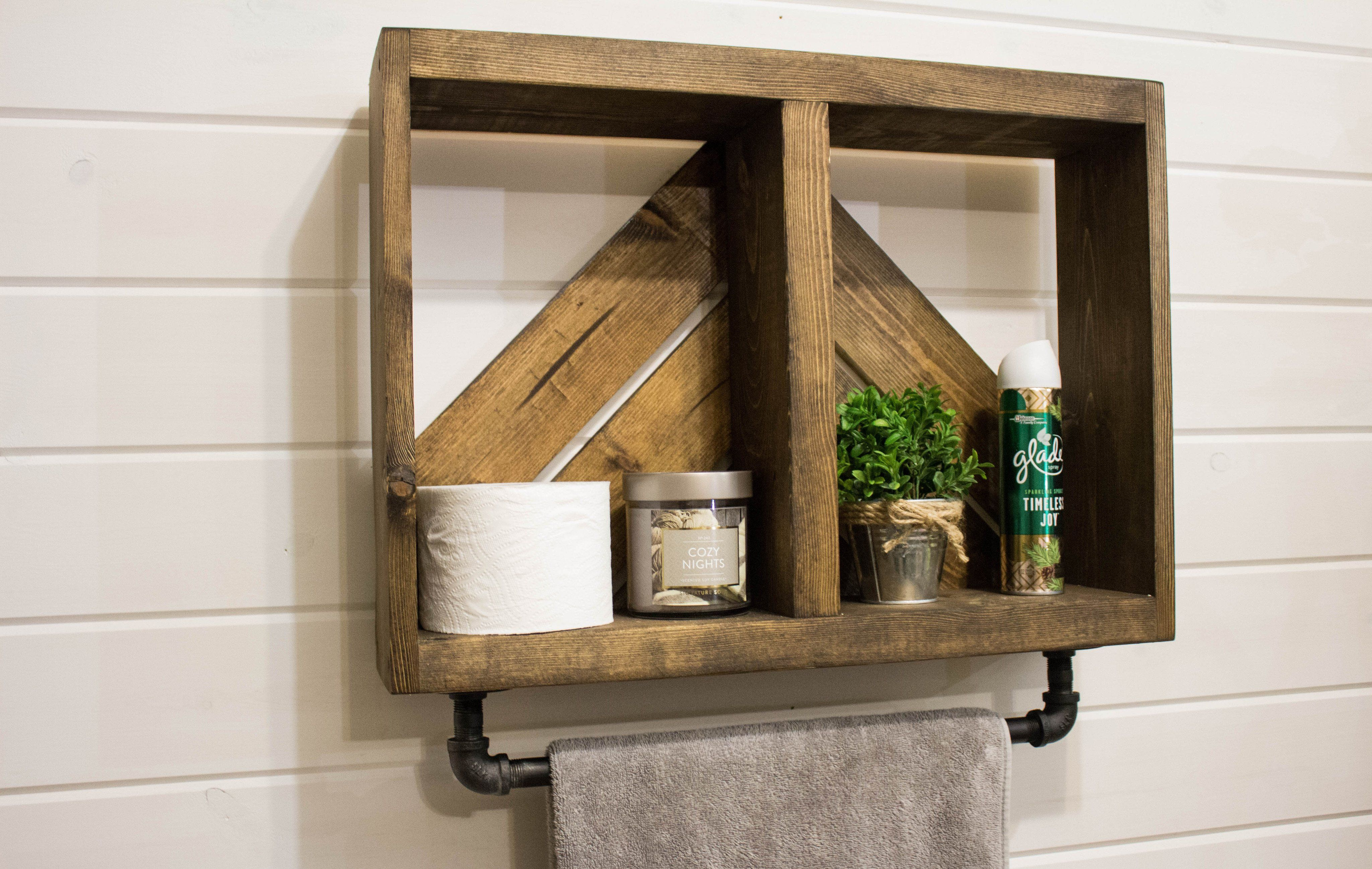 Rustic Arrow Bath Wall Shelf with Towel Bar | Products | Pinterest ...