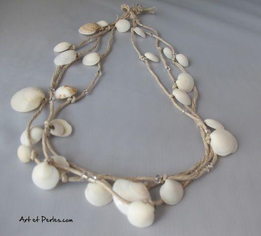 un collier en coquillages tout simple faire art et perles bijoux pinterest. Black Bedroom Furniture Sets. Home Design Ideas
