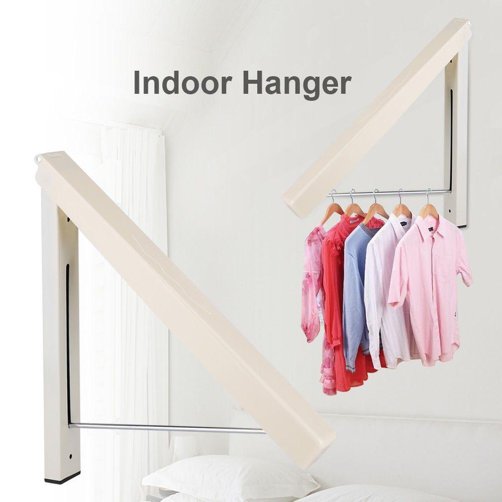 Stainless Folding Wall Hanger Mount Retractable Indoor Clothes Rack Clothe Hange