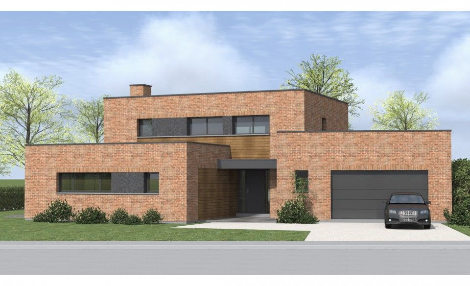 Image result for Maison cubique enduit + briques grises à Toufflers