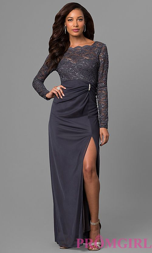 8cfe104d089 Long-Sleeve Lace Wedding-Guest Dress in Gunmetal