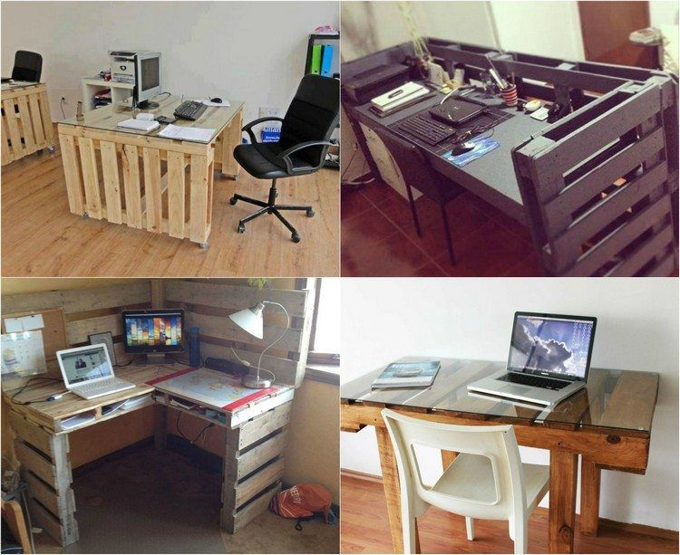 bureau en bois 34 id es diy tr s cool en palette europe bureaus europe and diy and crafts. Black Bedroom Furniture Sets. Home Design Ideas