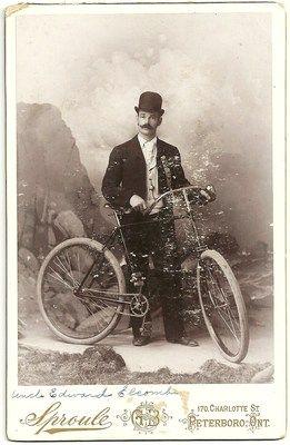 Vintage Cabinet Card Photo Edward Elcombe with Bicycle Peterborough Ontario | eBay
